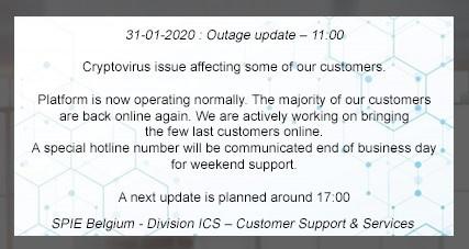 De update die vrijdagochtend te lezen viel op de website van het bedrijf., SPIE