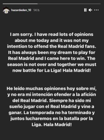 Les excuses d'Eden Hazard., Instagram @hazardeden_10