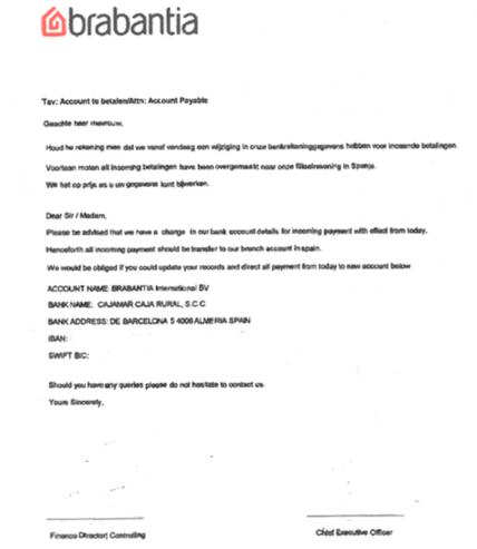 Dit is de mail die Bol.com ontving, met constructies als 'Voortaan moten all incoming betalingen have been overgemaakt naar onze filiaalrekening in Spanje.', Rechtspraak.nl