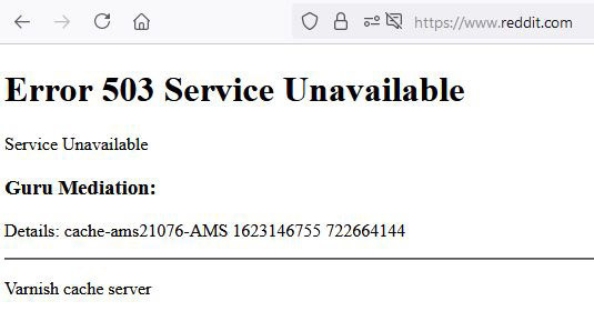 Reddit est elle aussi inaccessible pour l'instant., PVL