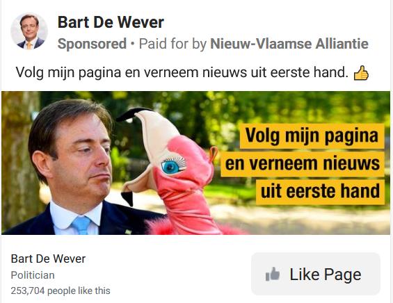 Aan een advertentie als deze geeft N-VA 10.000 tot 15.000 euro uit. Maar er zijn ook standpunten waarbij wordt opgeroepen op deze te liken, waardoor je je automatisch op de pagina van de partij of politicus abonneert., Facebook/PVL