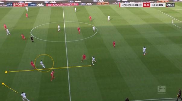 Linksbuiten Gnabry (omcirkeld) komt de bal in de voet vragen, waardoor Davies in de ruimte in de rug kan duiken. Thiago legt de bal erover en Davies kan van aan de grote rechthoek een voorzet trappen., Sky Sports