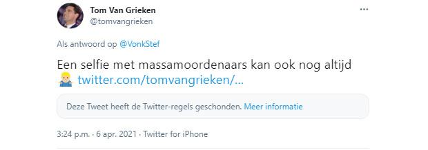 Verwijderde tweet van Tom Van Grieken, .