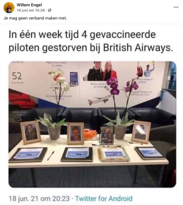 Facebookbericht van de Nederlandse coronascepticus Willem Engel, de oprichter van Viruswaarheid, een actiegroep tegen het coronabeleid van de Nederlandse overheid., Facebook