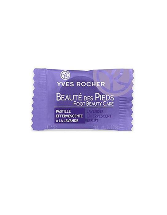 Pastille effervescente à la lavande, Yves Rocher, 1 euro.