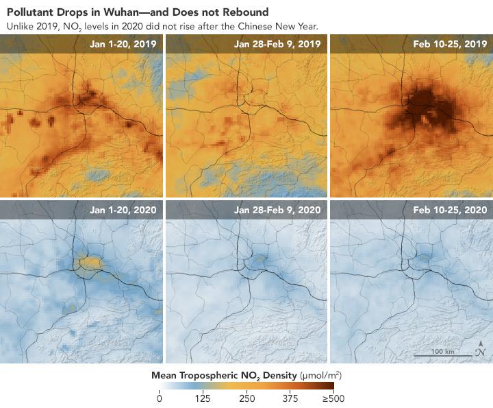 Comparaison de la pollution (NO2) sur Wuhan entre janvier-février 2019 et janvier-février 2020. , NASA