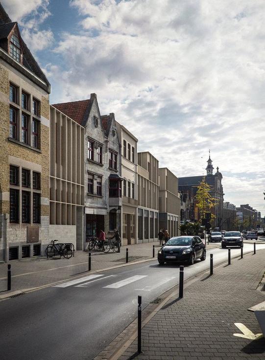 Stad Roeselare renoveert waardevolle gevels in de Zuidstraat. De andere panden worden mee vorm gegeven in het nieuwe ontwerp. Ook de panden van bakkerij Mahieu en frituur 't Zuid worden geïntegreerd., B-Architecten, Bressers en THIRD