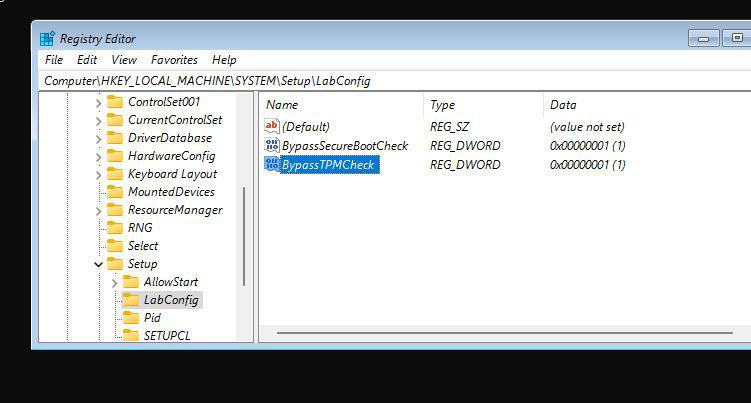 Met deze registerwaarden kregen we Windows 11 aan de praat op een virtuele machine zonder TPM., PVL
