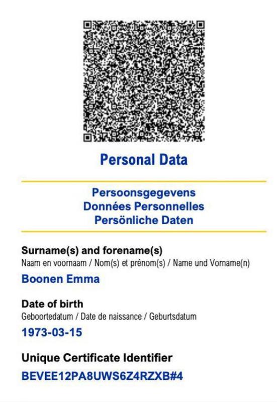 Certificat covid européen, DR