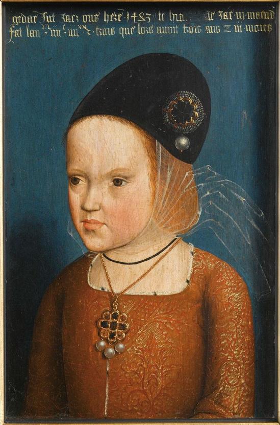 Pierre Coustain, Margareta van Oostenrijk op driejarige leeftijd, 1483, olieverf op paneel, Musée national des châteaux de Versailles et de Trianon, RMN-Grand Palais (Château de Versailles) / Gérard Blot