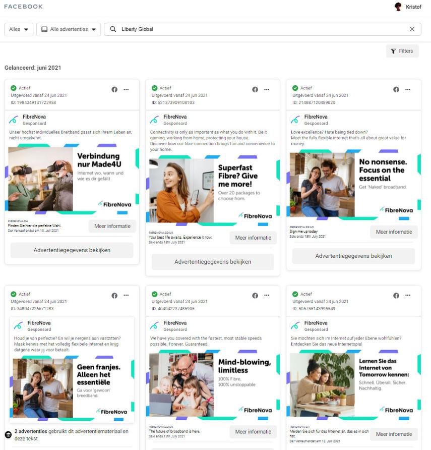 Overzicht in Facebook Ad Library van de reclamecampagnes van Liberty Global rond FibreNova., KVdS/DN