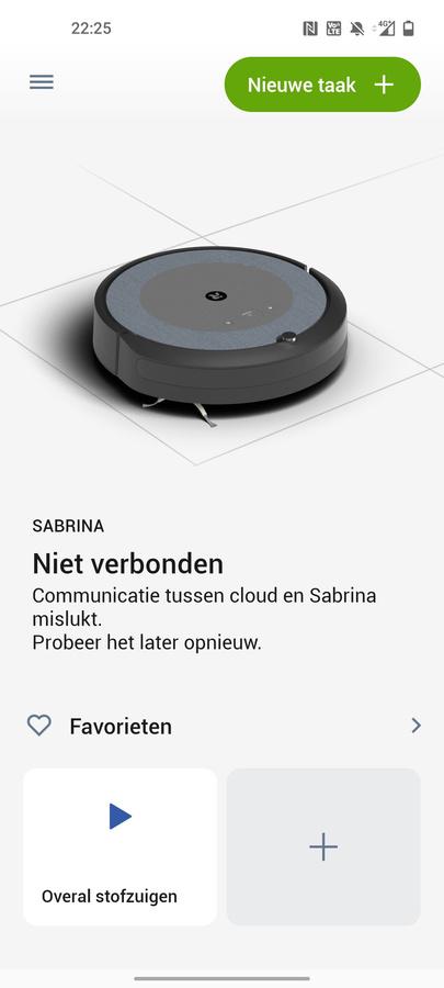 Geen cloudverbinding: een foutmelding die we iets te vaak zagen. Enige remedie is de robot even herstarten., DN/KVdS