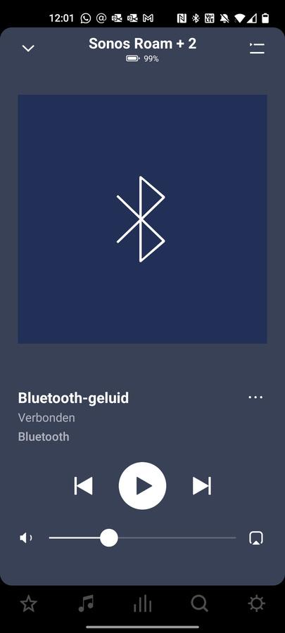 Muziek die je via Bluetooth streamt naar de Roam, kan je via de Sonos-app ook laten horen op andere speakers in je netwerk., DN/KVdS