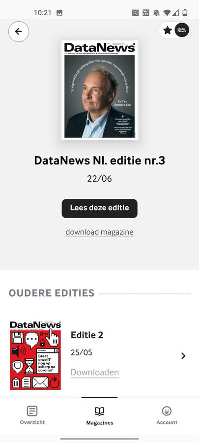 Ook de magazines van Data News kan u voortaan via de Mijn Magazines app lezen., DN