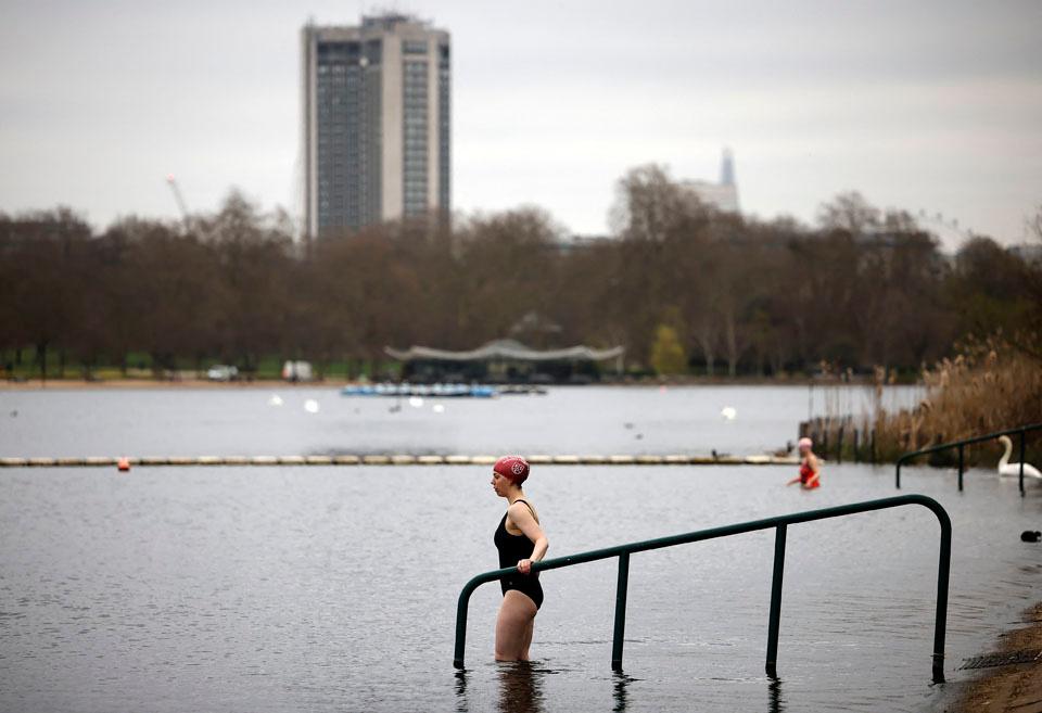 Serpentine Lido à Hyde Park, Londres, fin mars 2021, AFP